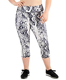 Plus Size Snakeskin-Print Cropped Leggings, Created for Macy's