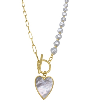 Imitation Pearl and Chain Heart Toggle Necklace