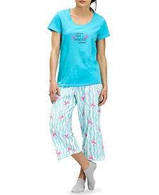 Flamingo Capri Pajama Pants Set