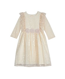 Toddler Girls Long Sleeve Embroidered Organza Dress