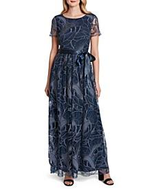 Metallic-Embroidered Satin-Belt Dress