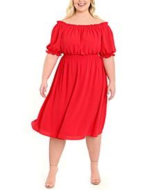 Plus Size Off-The-Shoulder Midi Dress