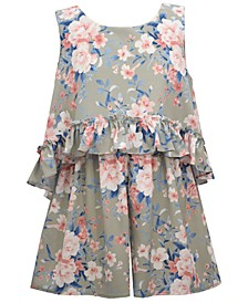 Big Girls Printed Bubble Crepe Romper with Popover Top and Bow Back