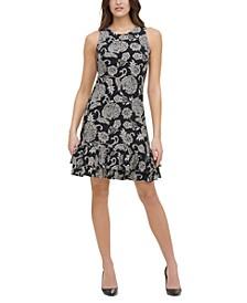 Printed Flounce-Hem Shift Dress