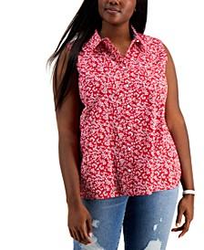 Plus Size Cotton Sleeveless Button-Down Blouse