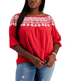 Plus Size Off-The-Shoulder Embroidered Top