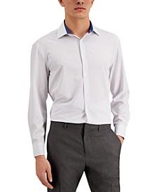 Men's Slim-Fit No-Iron Performance Stretch White Dot Dress Shirt