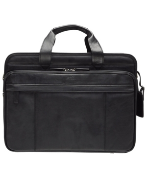 """Beverly Hills Collection Men's Double Compartment Briefcase with Rfid Secure Pocket for 17.3"""" Laptop and Tablet"""