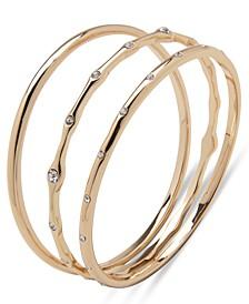 Gold-Tone 3-Pc. Set Crystal Bangle Bracelets