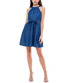 Juniors' Cotton Denim Fit & Flare Dress