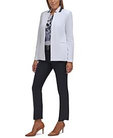 Stripe-Trim Blazer, Floral-Print Pleated-Neck Top & Belted Slim-Leg Pants