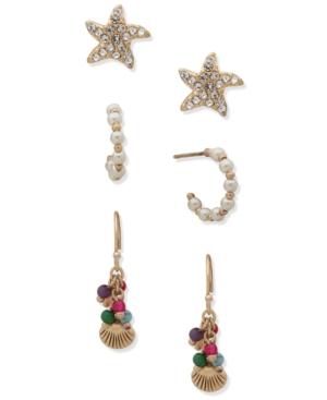 Gold-Tone 3-Pc. Set Seashore Earrings