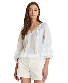 Cotton Ruffled Long Sleeve Top