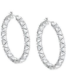 """Rhodium-Plated Millenia Medium Hoop Earrings, 1.6"""""""