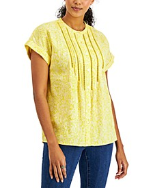 Floral-Print Lattice-Trimmed Button-Down Blouse, Created for Macy's