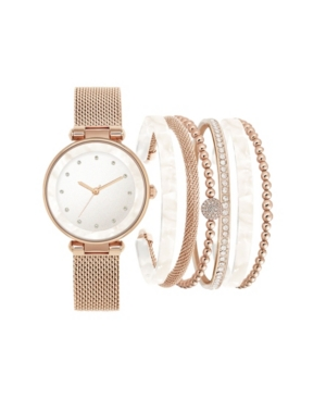 Jessica Carlyle Women's Rose Gold-Tone Mesh Strap Analog Watch with White Stackable Resin Bracelets Gift Set