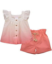 Little Girls Sleeveless Lawn Button Front Top with Matching Solid Twill Short
