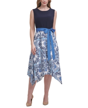 Plus Size Printed-Skirt A-Line Dress