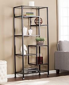 Joe Metal, Glass Asymmetrical Etagere, Bookcase