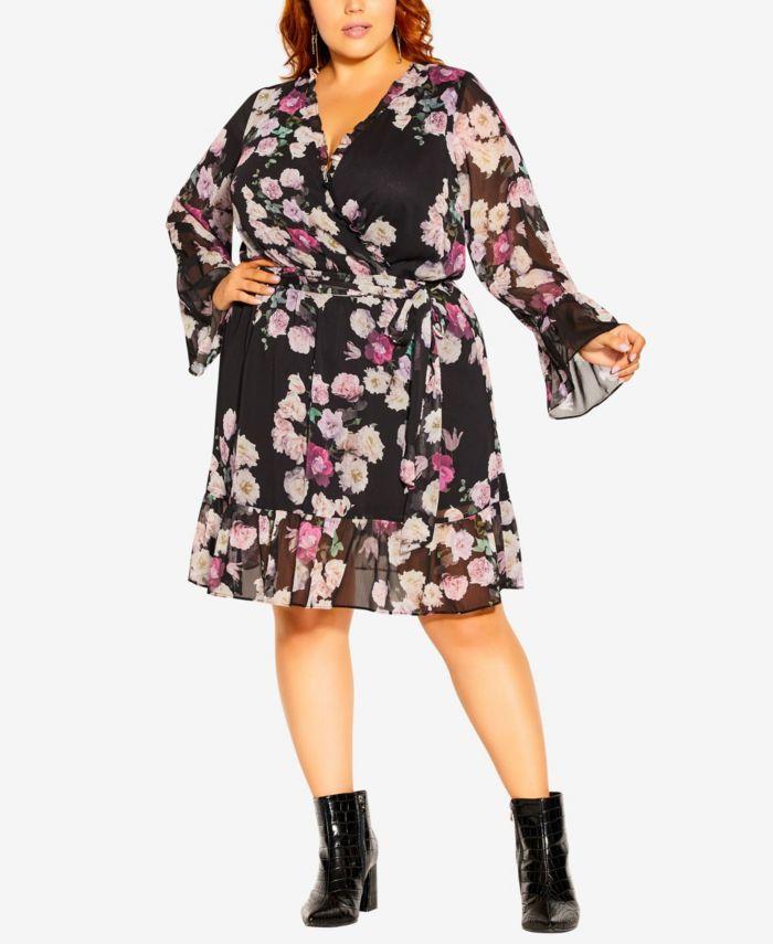 City Chic Plus Size Amore Floral Dress & Reviews - Dresses - Plus Sizes - Macy's