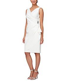 Compression Embellished Ruched Sheath Dress