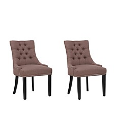 Upholstered Wingback Button Tufted Dining Chair, Set of 2