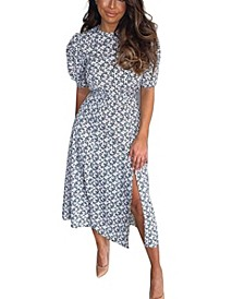 Daisy Print Pleat Sleeve Midi Dress