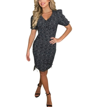Spotty Ruched Elasticated Tie Side Dress