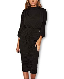 Women's High Neck Ruched Midi Dress