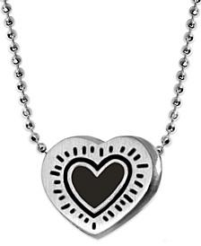 Sterling Silver Enamel Heart Pendant Necklace