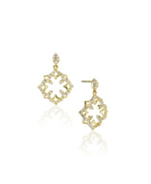 Lotus Sterling Silver White Topaz Earrings in Fine Yellow Gold Plate