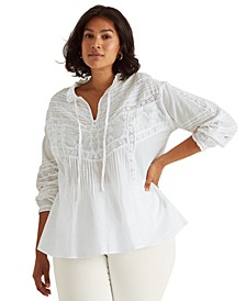Plus Size Pintucked Ruffled Top
