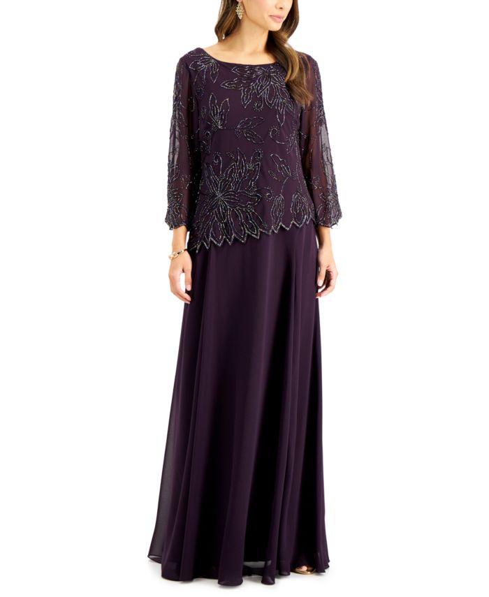 J Kara Beaded 3/4-Sleeve Gown & Reviews - Dresses - Women - Macy's