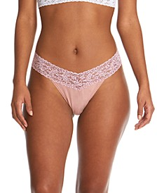 Women's Cotton with Printed Lace Trim Original Rise Thong