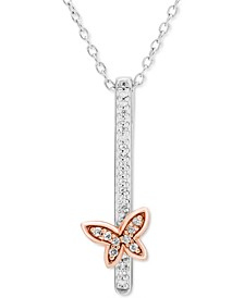 """Diamond Butterfly Vertical Bar 18"""" Pendant Necklace (1/10ct. t.w.) in Sterling Silver & 10k Rose Gold"""