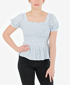 Juniors' Off-The-Shoulder Peplum Top
