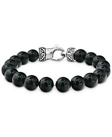Men's Onyx Bead Bracelet in Stainless Steel & Black Ion-Plate
