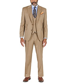 Men's Classic-Fit Taupe with Teal Stripe Vested Suit Separates