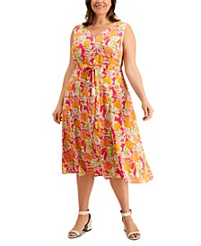 Plus Size Printed Fit & Flare Belted Midi Dress