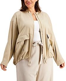 Plus Size Cropped Zip-Front Jacket