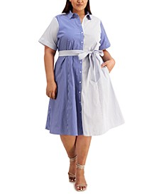 Plus Size Mixed-Striped Dress