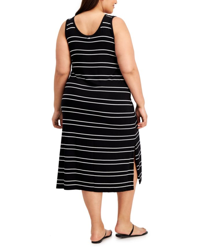 Calvin Klein Plus Size Striped Midi Dress & Reviews - Dresses - Plus Sizes - Macy's