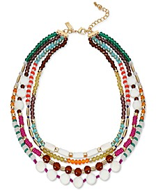 """Gold-Tone Multi-Bead Layered Strand Necklace, 18"""" + 3"""" extender, Created for Macy's"""