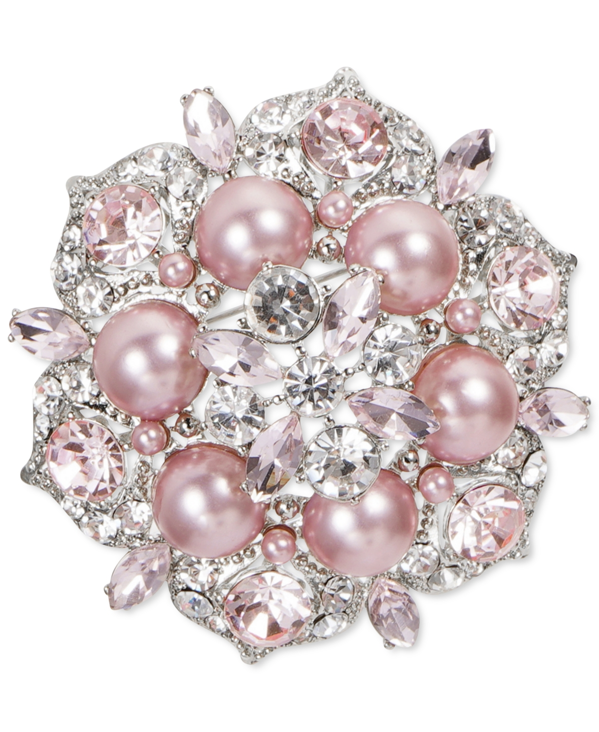 Charter Club Silver-Tone Crystal & Pink Imitation Pearl Cluster Pin, Created for Macy's