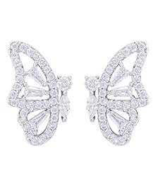 Cubic Zirconia Butterfly Stud Earring in Fine Silver Plate or Fine Gold Plate
