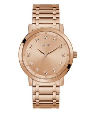GUESS MEN'S DIAMOND-ACCENT ROSE GOLD-TONE STAINLESS STEEL WATCH 44MM