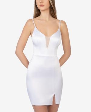 Juniors' Mesh-Inset Mini Dress