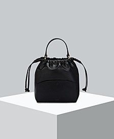 Benson Leather String Bucket Bag