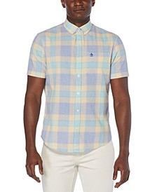 Men's Plaid Seersucker Button-Down Shirt