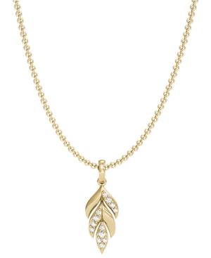Diamond 1/20 ct. t.w. Laurel Leaf Pendant in 10K Yellow Gold